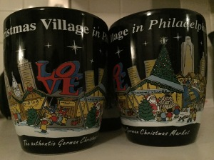 at the Christmas Village market at Love Park we stopped for hot spiced wine, which came in these cute little cheesy cups; we bought an extra cup for his mom